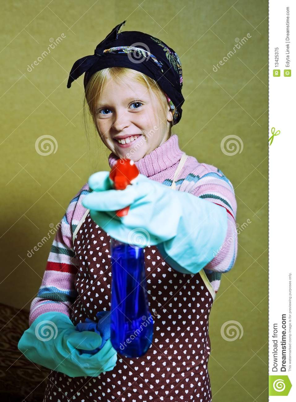Little Cleaning Lady Stock Image Image Of Helping