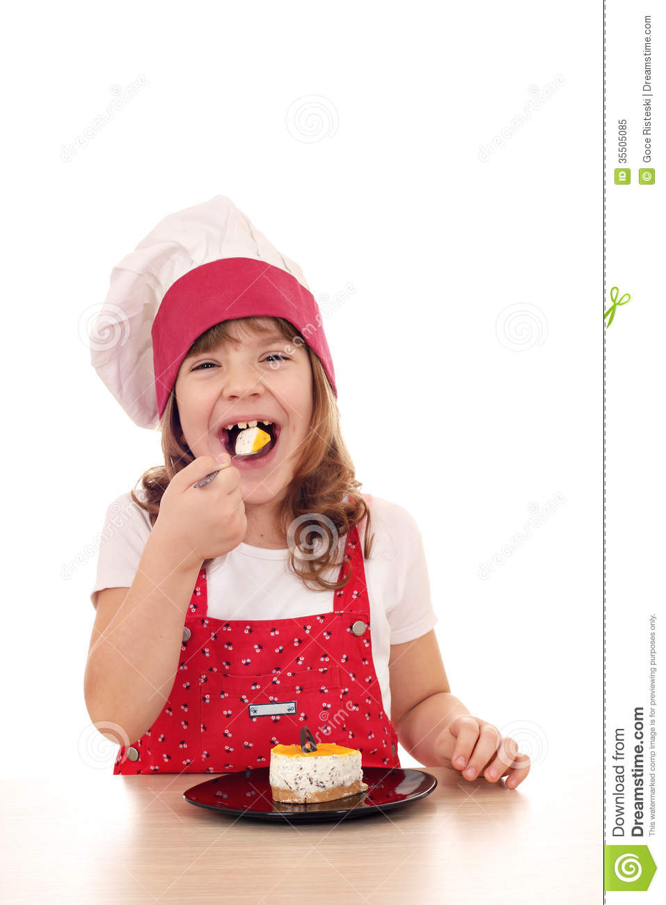 Little Cook Girl Eat Cake Stock Image Image Of Culinary