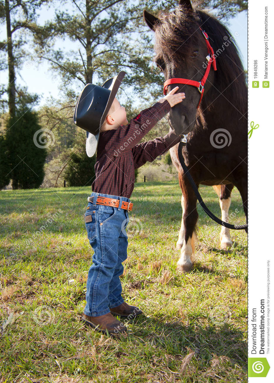 Little Cowboy Stock Photo Image Of Country Animals