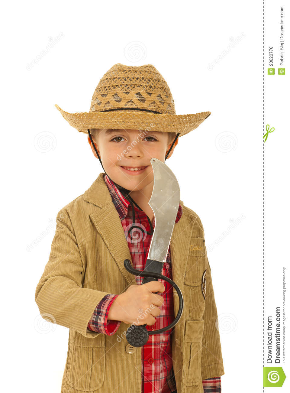23fd1fbe8007b Little cowboy with sword stock photo. Image of hold