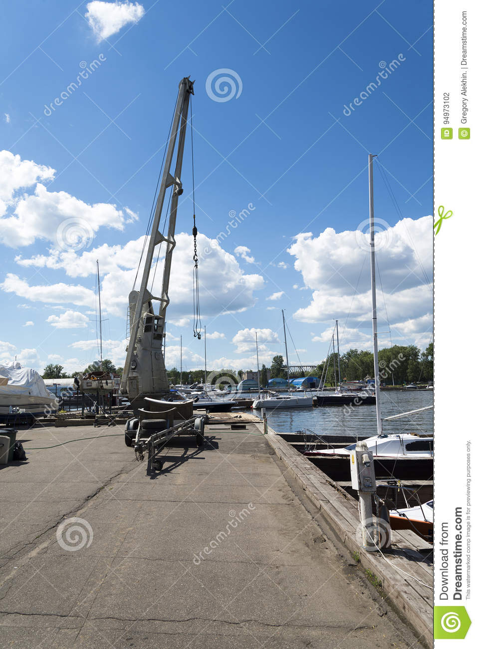 The little crane on the dock.