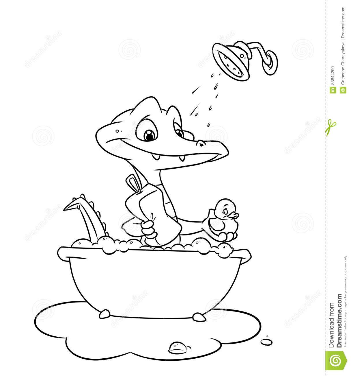 little crocodile swims bathroom coloring pages stock illustration