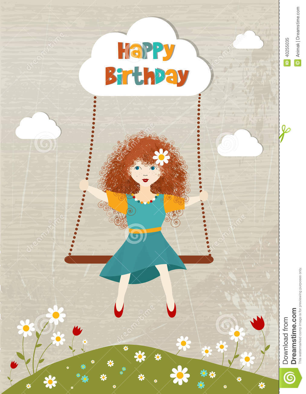 Little Curly Redhead Girl On A Swing Stock Vector Image