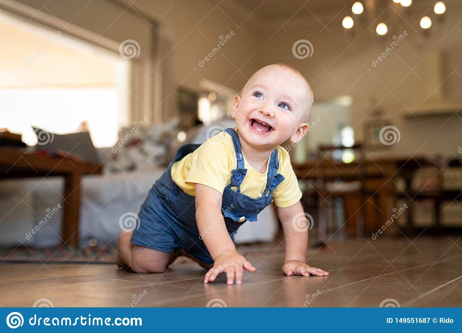 Little cute baby crawling at home