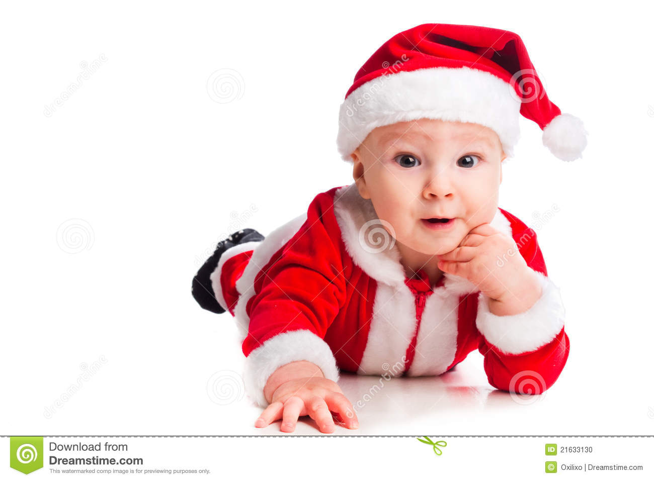 Baby Gnome: Little Cute Baby Gnome In Red Stock Photo