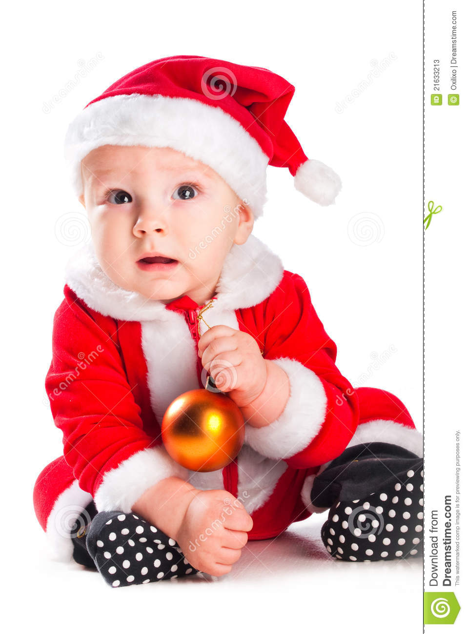 Baby Gnome: Little Cute Baby Gnome In Red With Golden Ball Stock