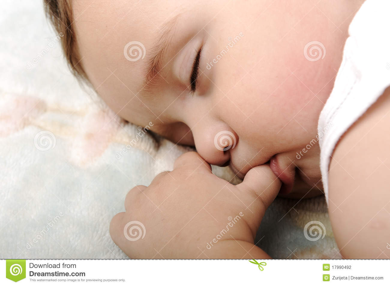 Little Cute Baby Sleeping Stock Photo. Image Of Finger