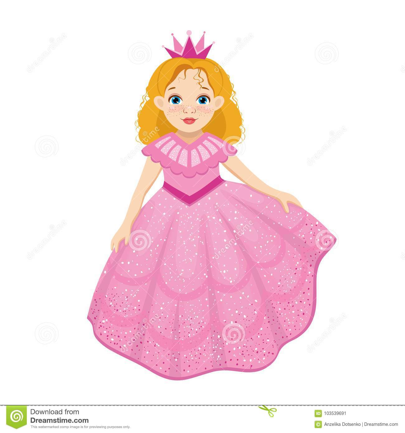 Little Cute Beautiful Princess In Cartoon Style Stock Vector