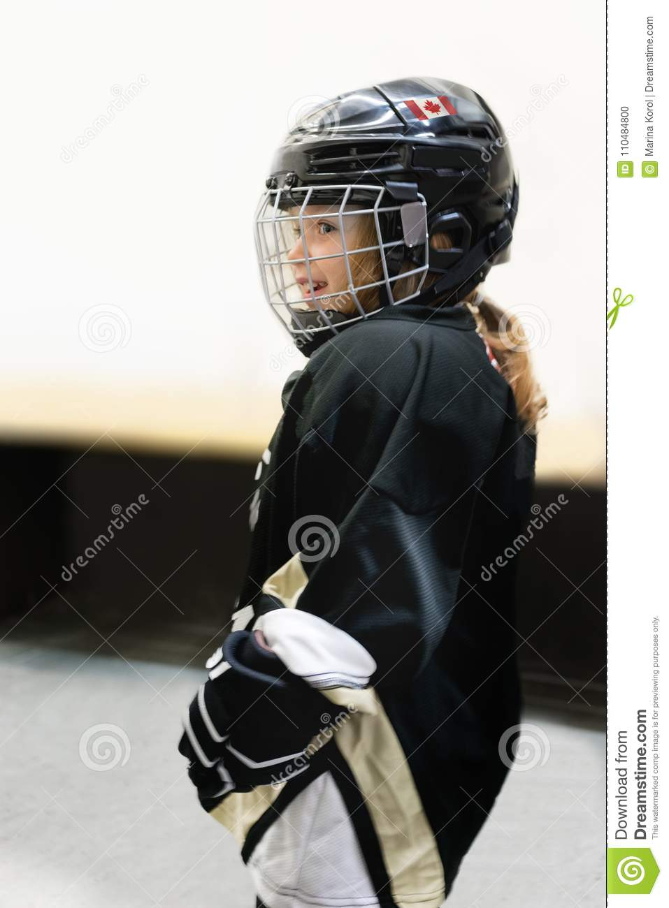 Little Cute Blonde Canadian 3 Years Old Girl Plays Hockey In Full