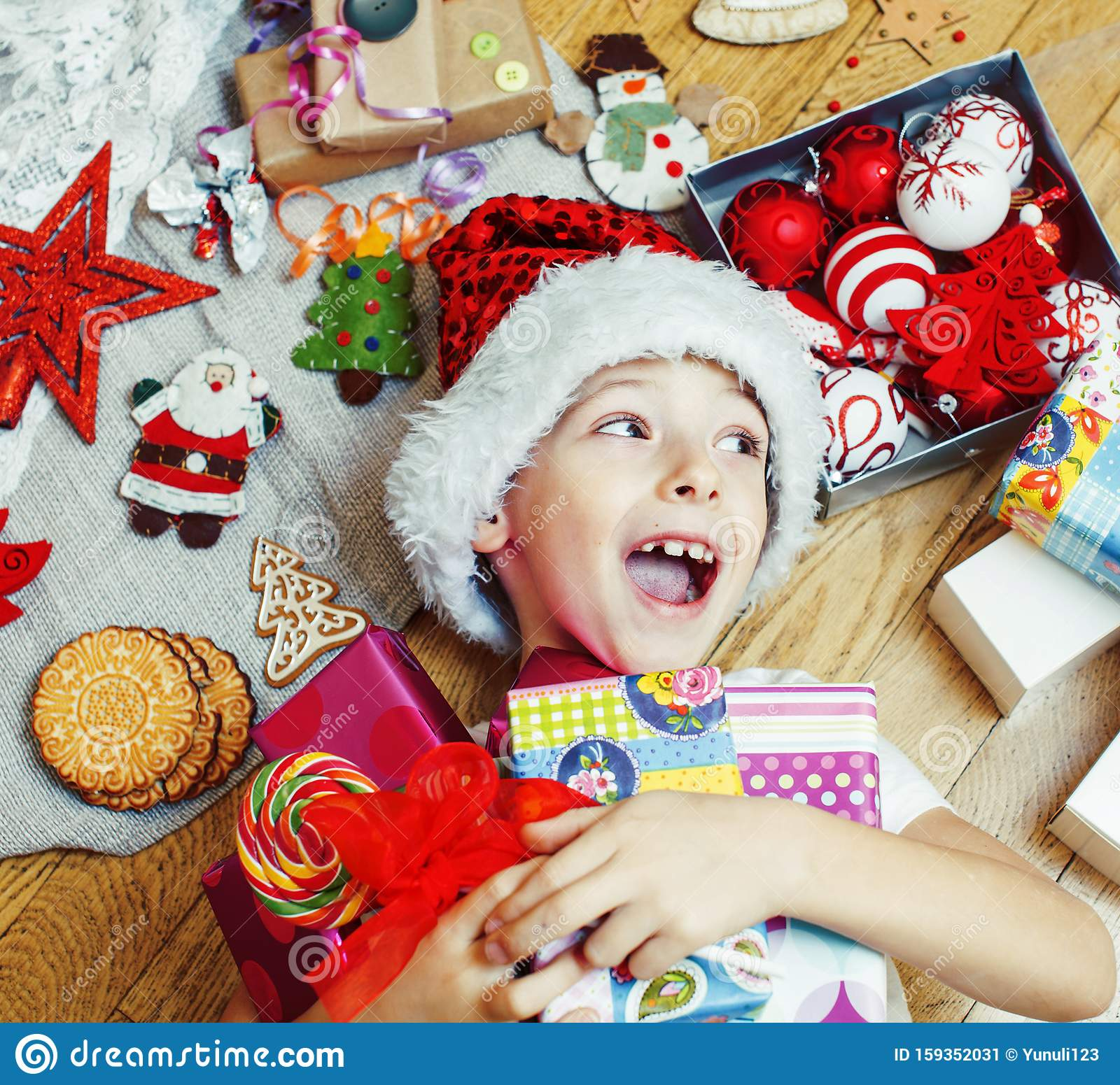 Little Cute Boy With Christmas Gifts At Home. Close Up ...