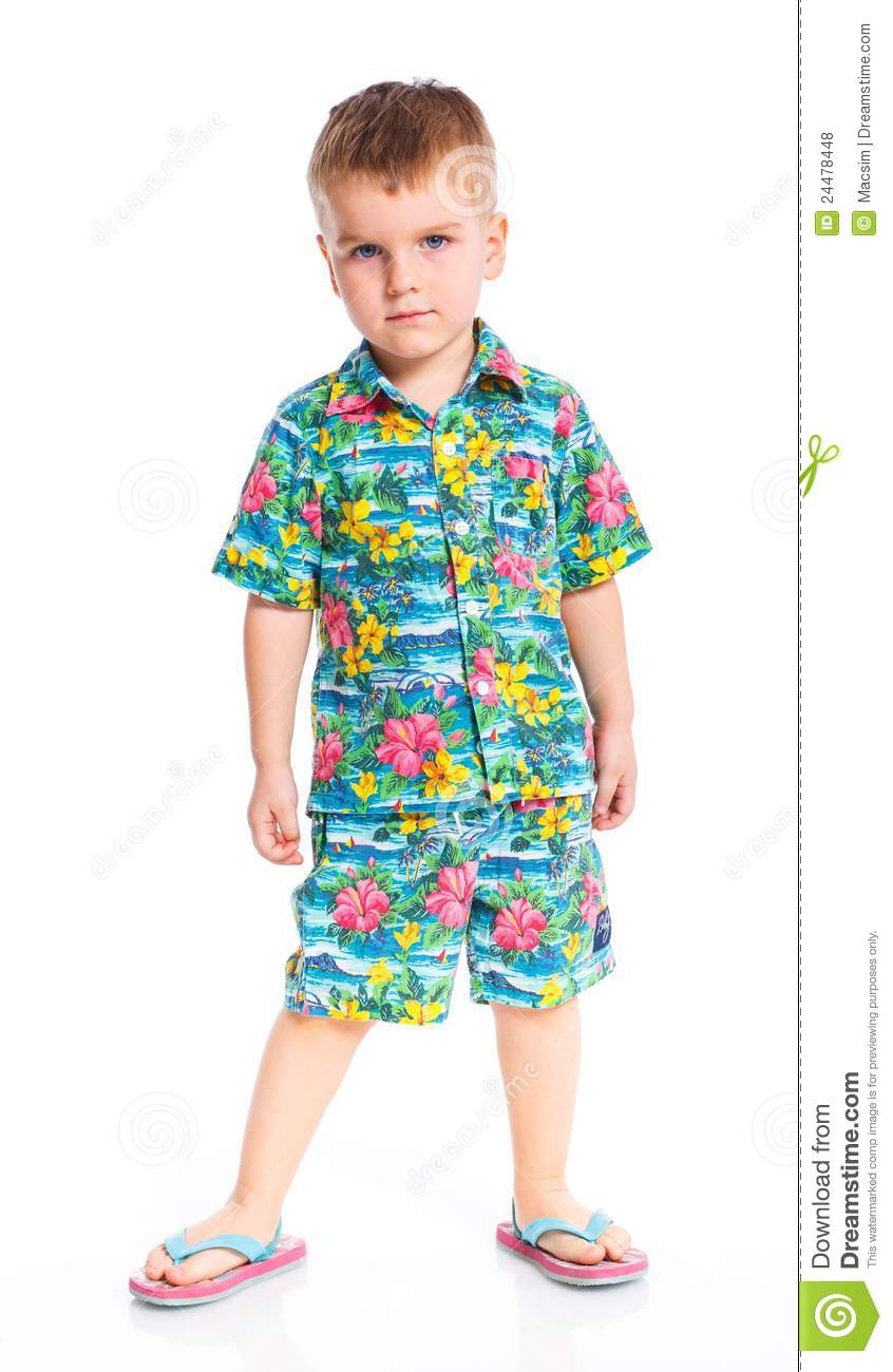 Little Cute Boy Dressed In Beach Clothes Stock Photo ...