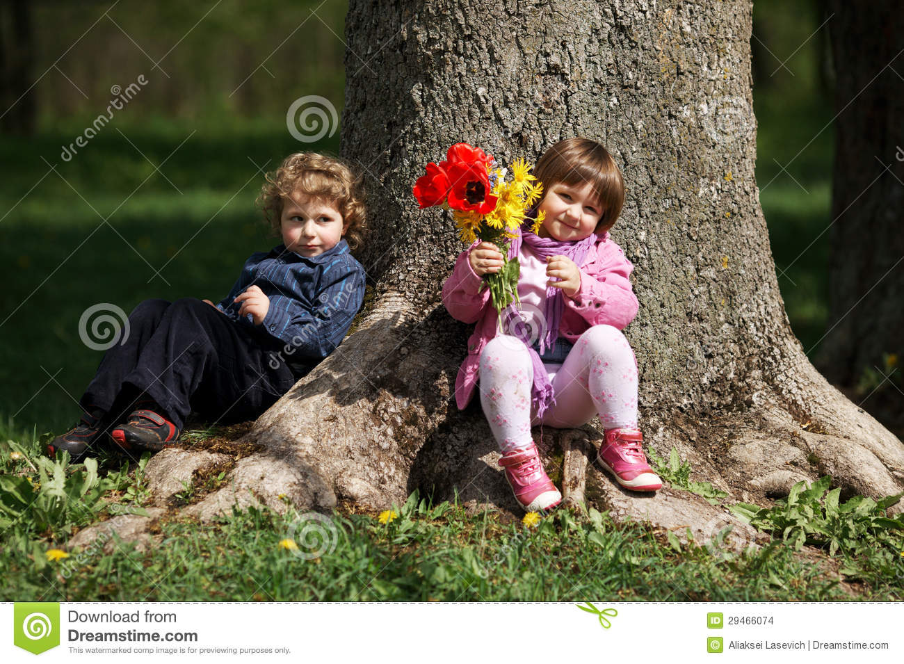 Little Cute Boy And Girl On Date Stock Photo Image Of Outdoors