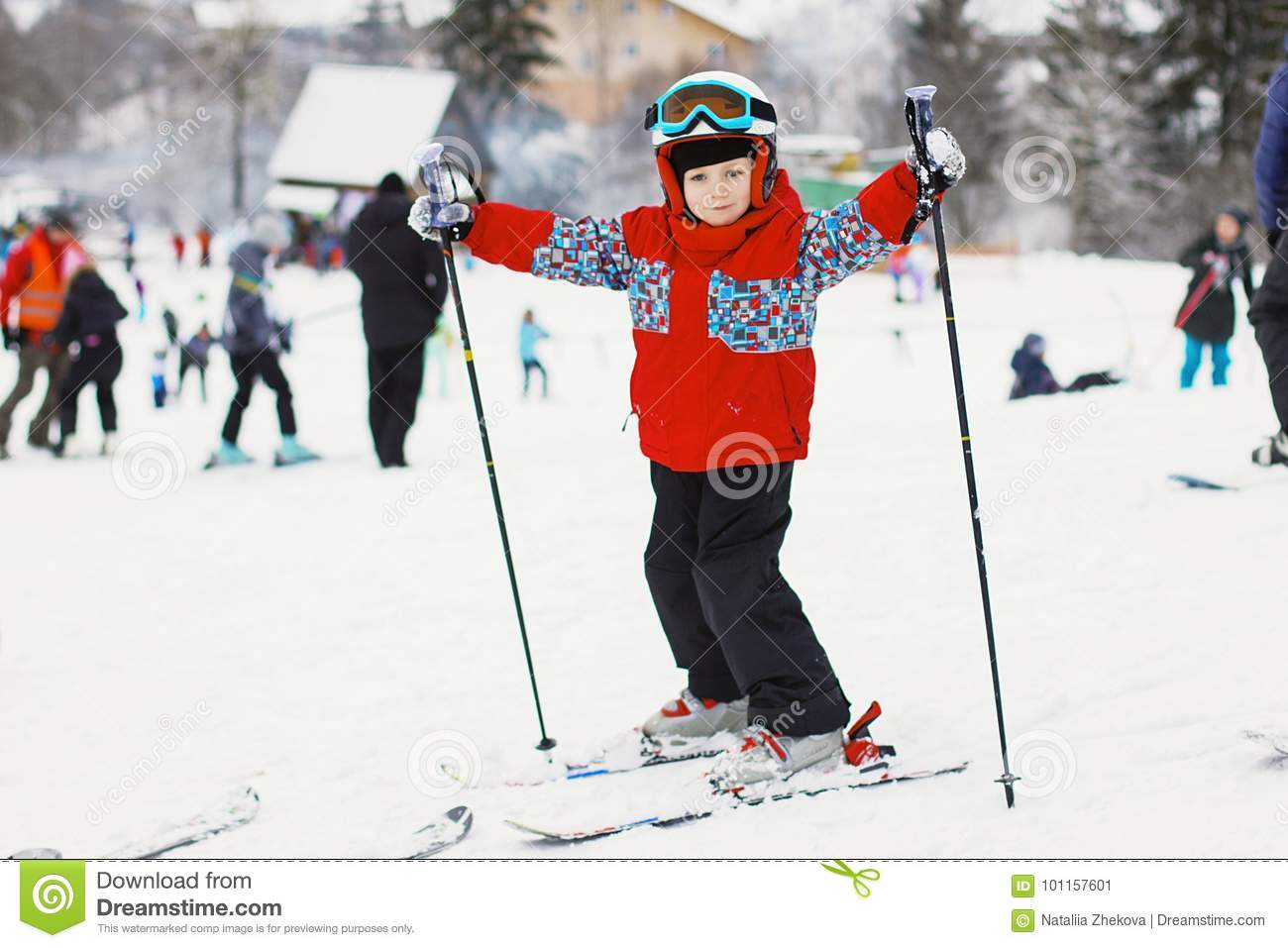 b1fddd996693 Little Cute Boy With Skis And A Ski Outfit. Little Skier In The ...