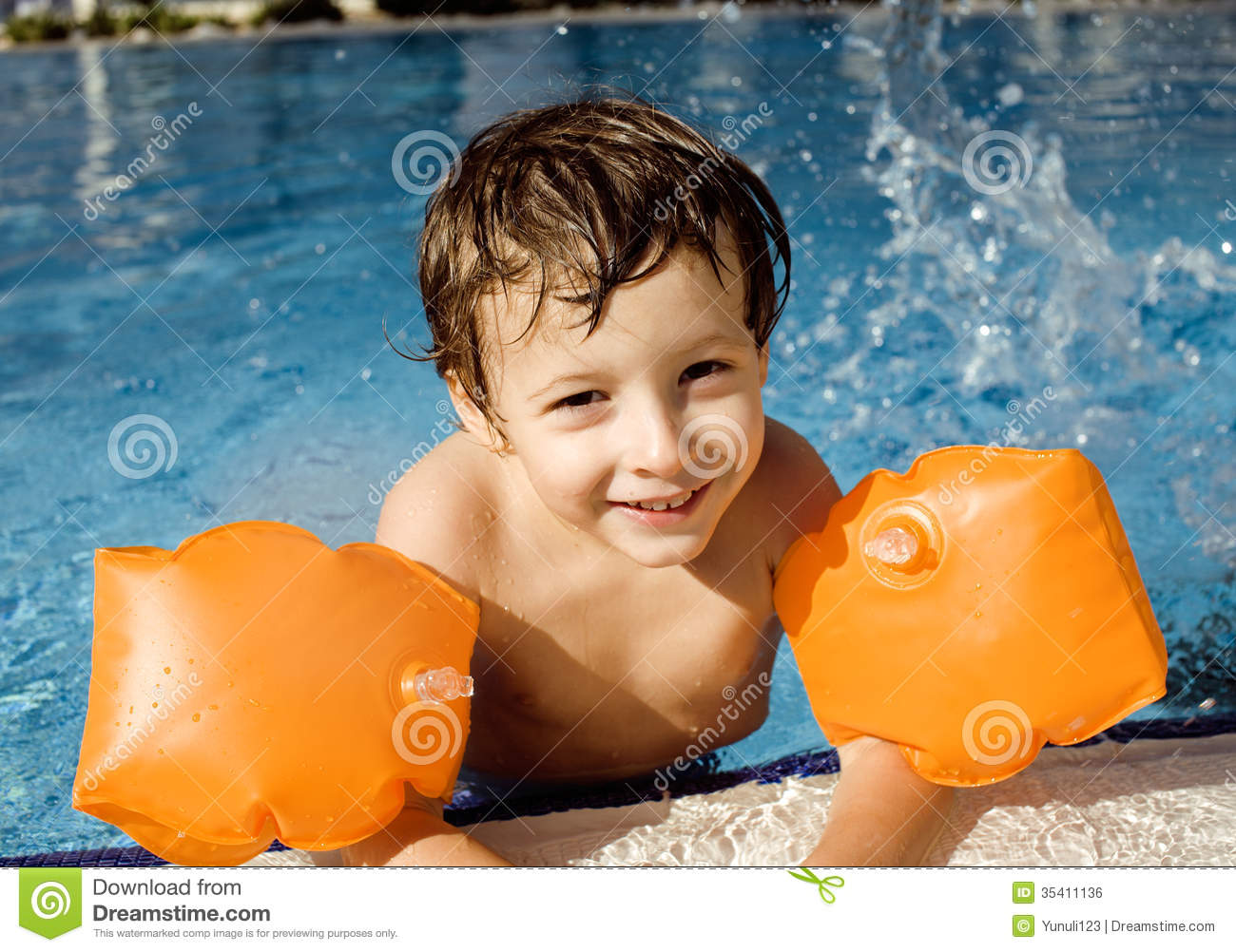 Little Cute Boy In Swimming Pool Royalty Free Stock Image - Image ...