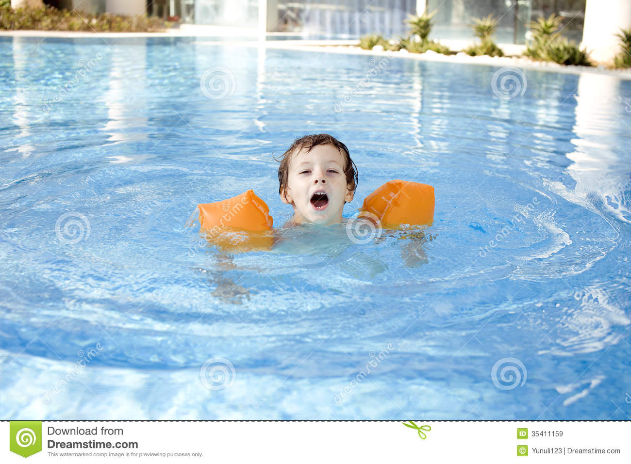 Little cute boy in swimming pool royalty free stock images for Cute pool pictures