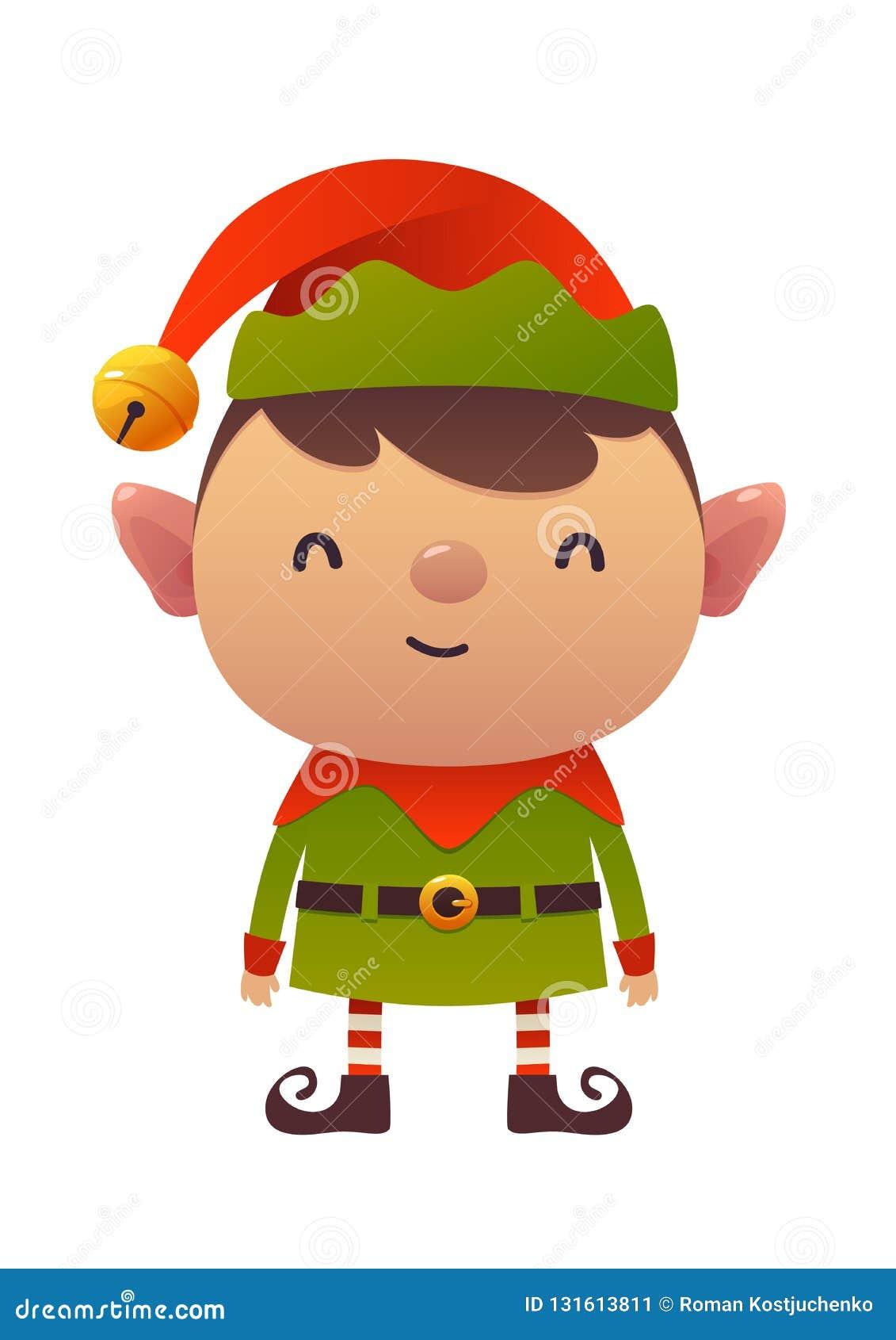 Little Cute Cartoon Elf Vector Illustration On White ...
