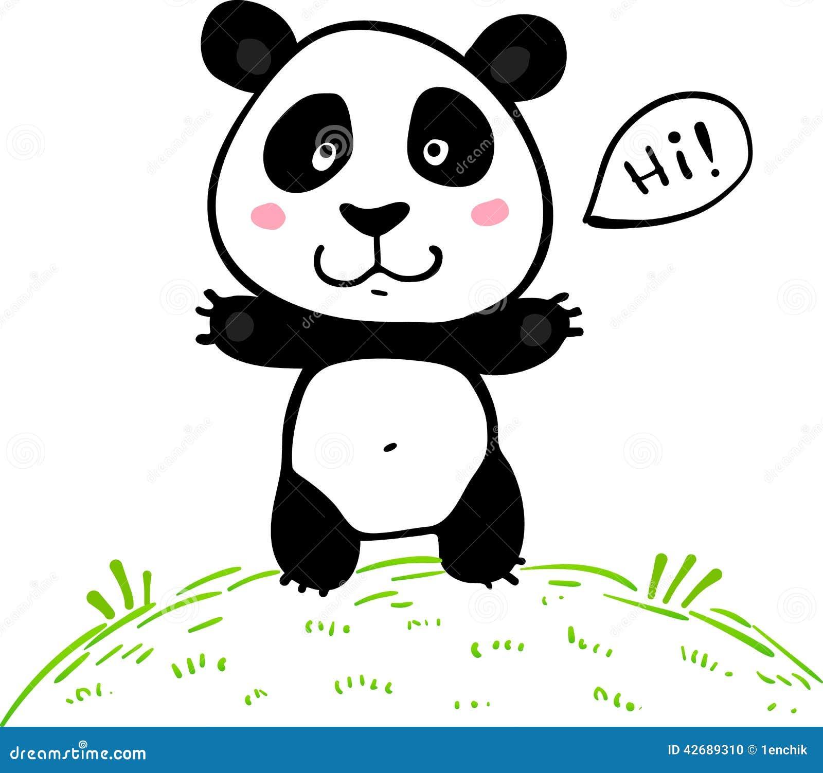 Little cute doodle drawing vector panda stock vector for Cute little doodles to draw