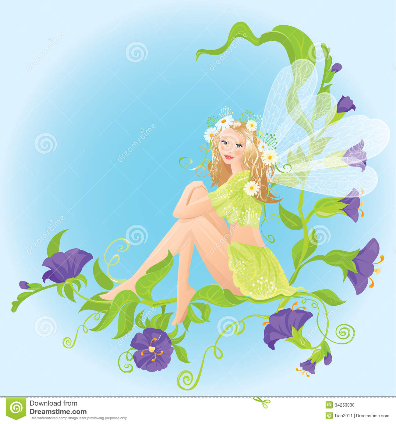 Little cute forest fairy sitting on beautiful wild