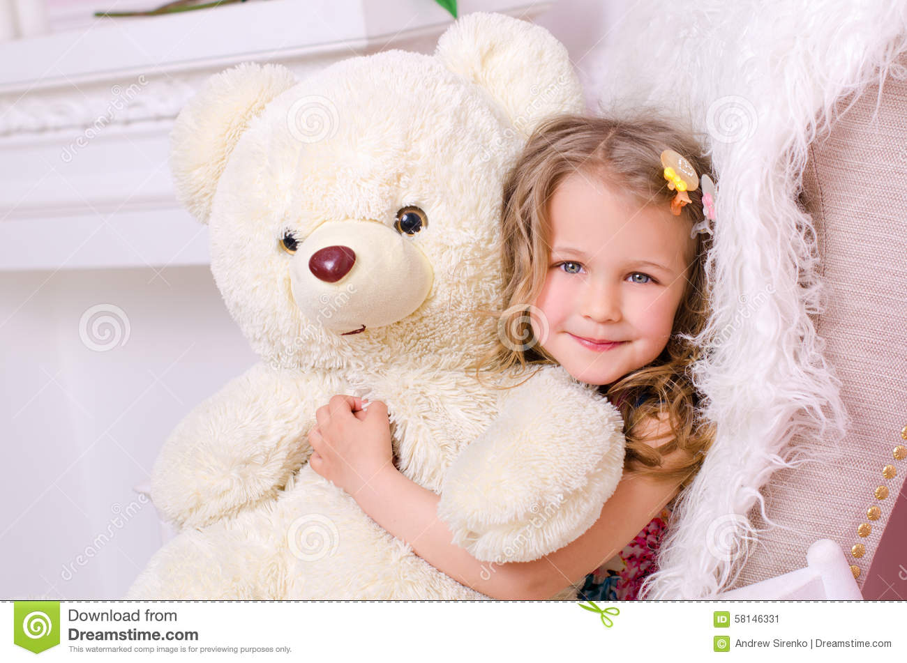 Little Cute Girl With Big White Teddy Bear Stock Photo ...Little Girl With Teddy Bear Black And White