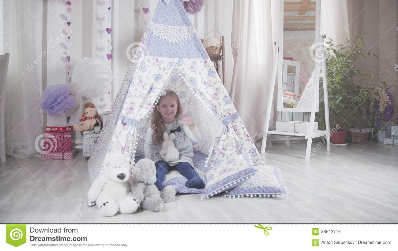 Little Cute Girl With Blond Hair With Soft Toys In DIY Tent Stock ...