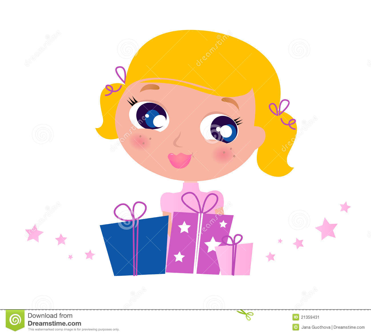 Jana Only Sweet Girls: Little Cute Girl With Christmas Gifts. Stock Image
