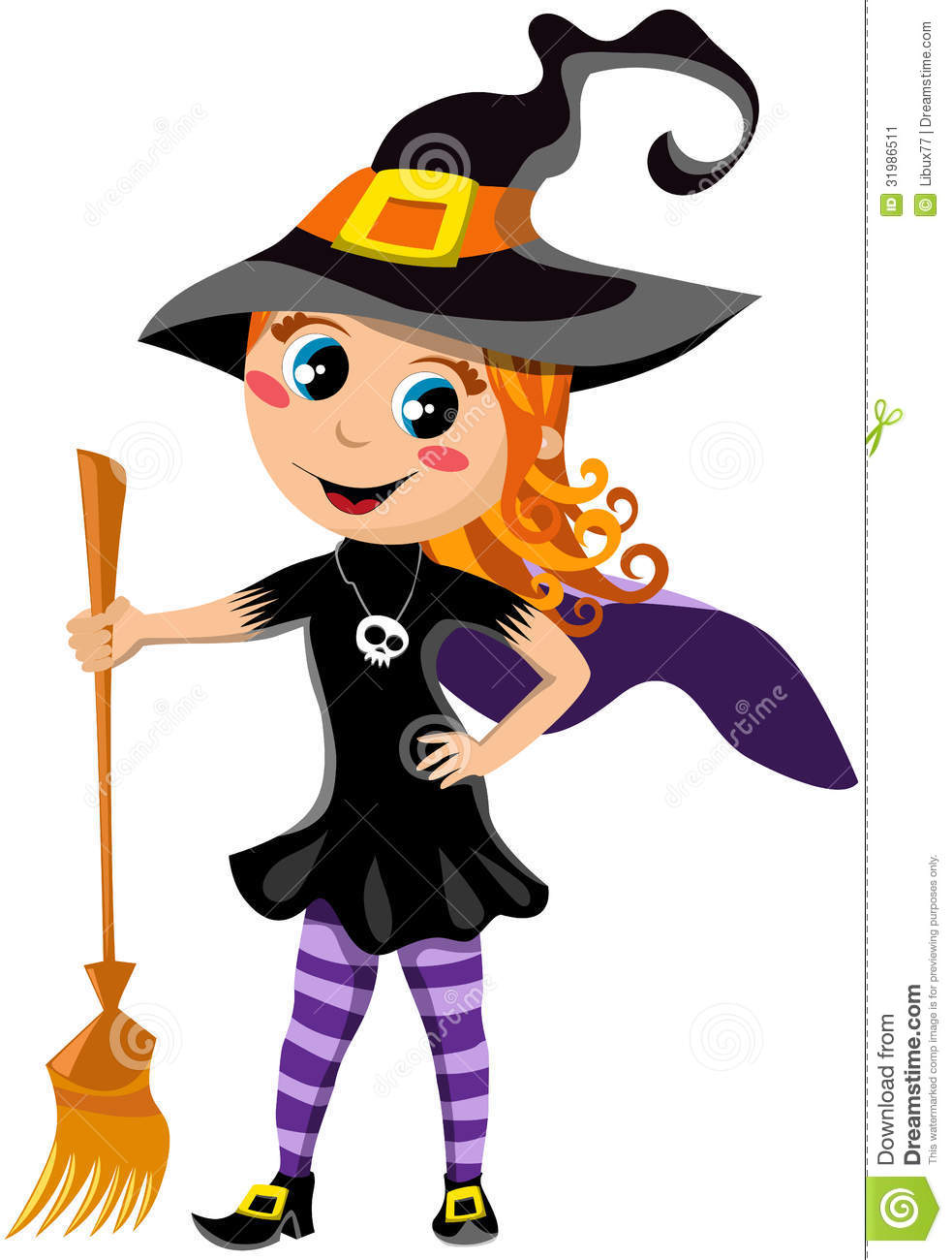 Little Cute Girl With Halloween Witch Costume Stock Image - Image ...