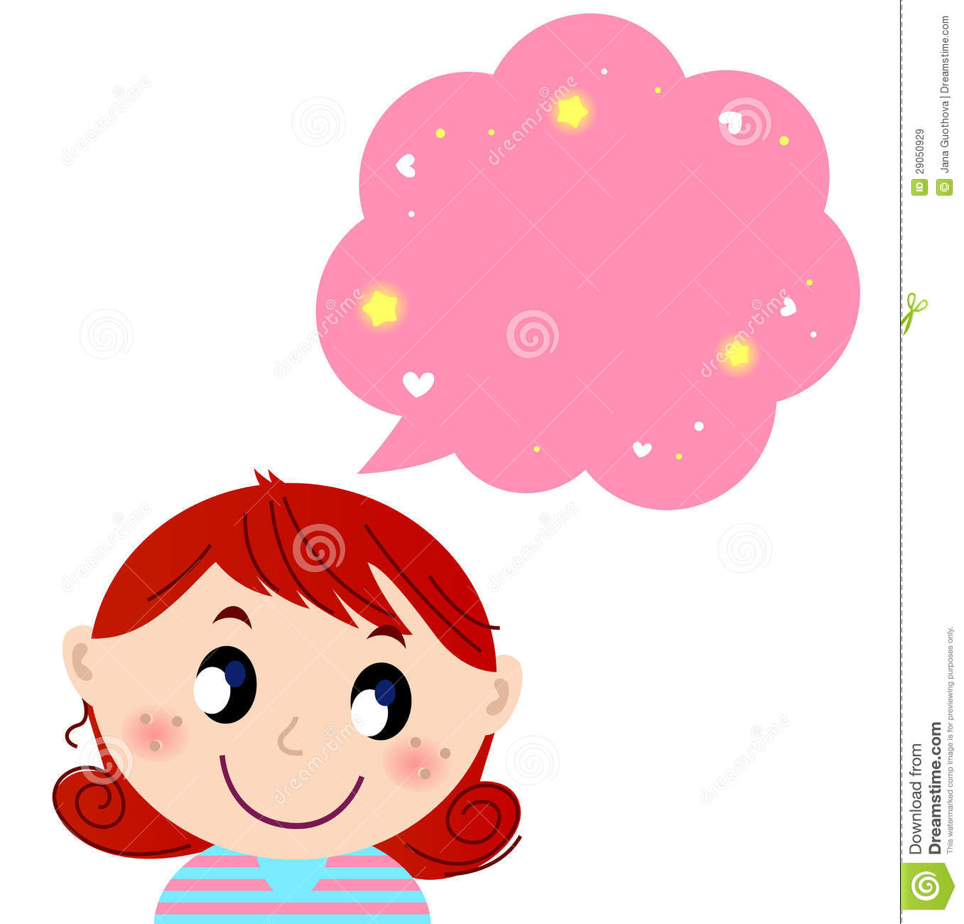 Little Cute Girl With Pink Dreaming Bubble Royalty Free