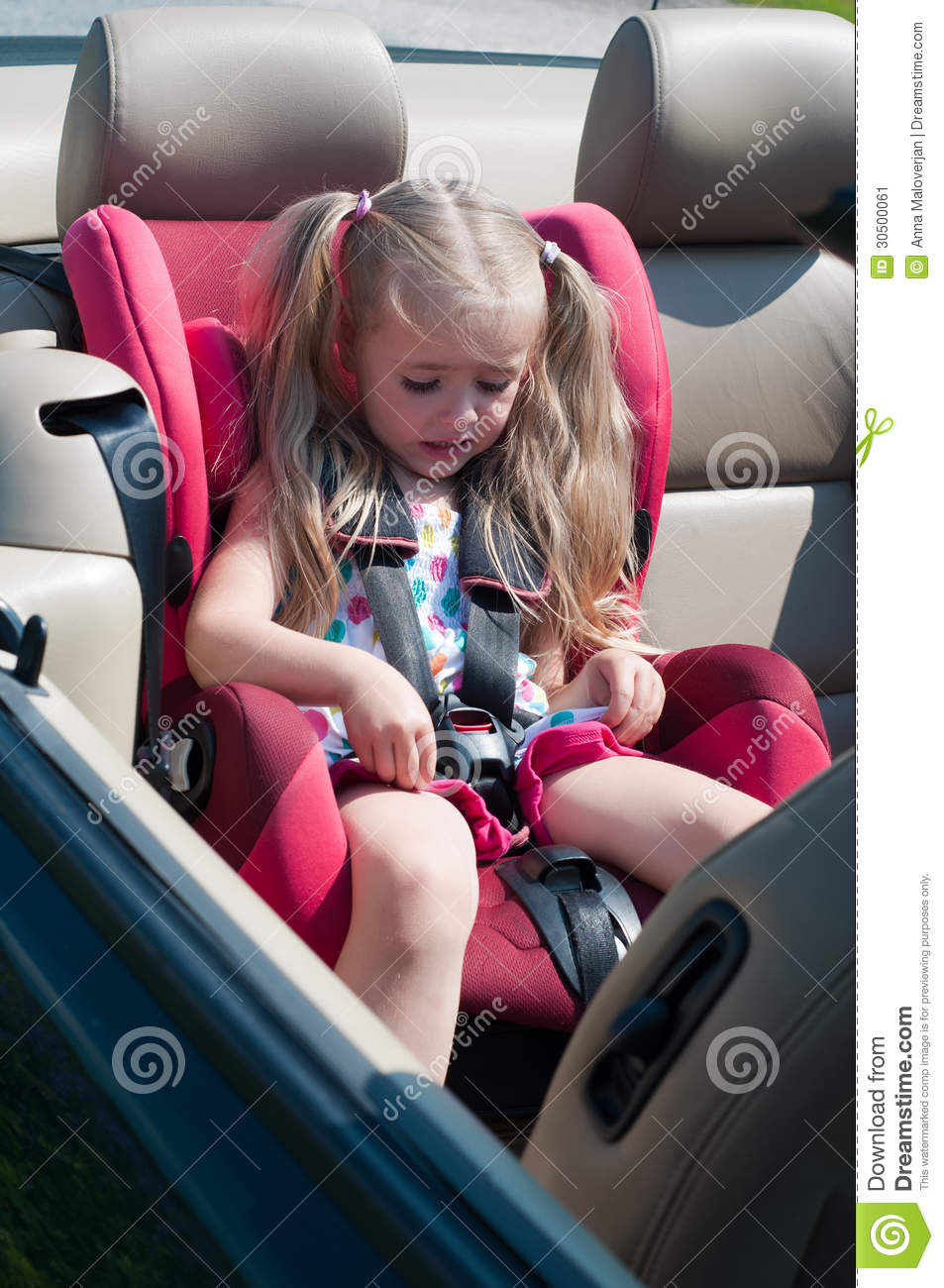 Little Cute Girl Sitting In Car Seat Stock Image Image Of Girl
