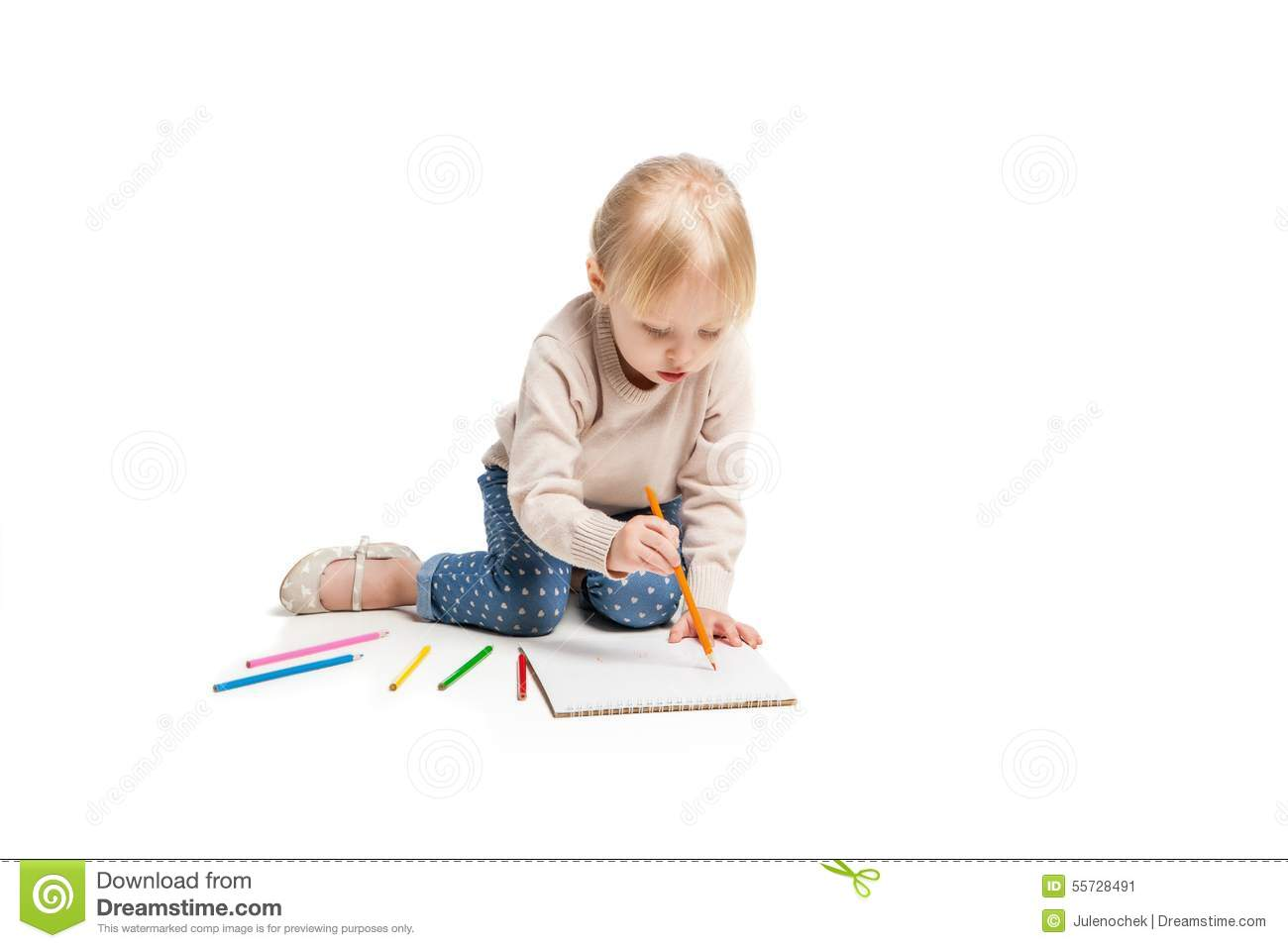 Little Cute Girl Sitting On Floor And Drawing With Stock