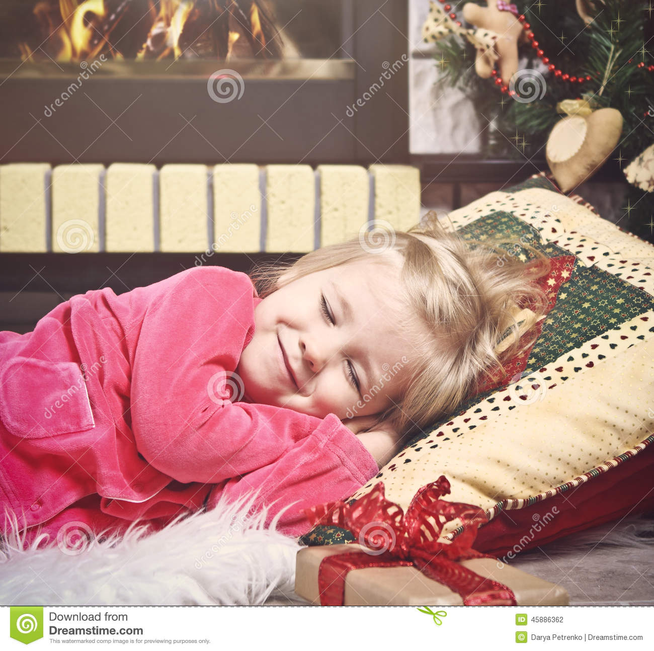 Little Girl Christmas Tree: Little Cute Girl Sleeping Under The Christmas Tree Waiting