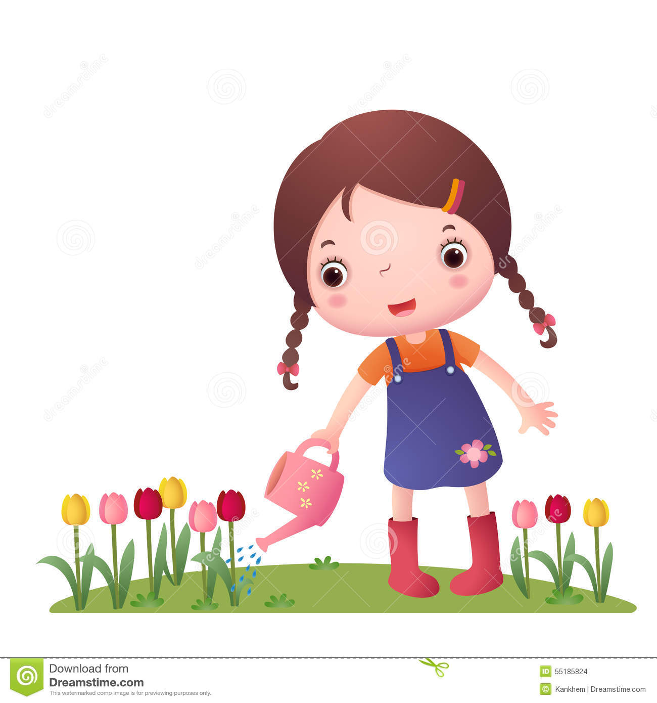 Little Cute Girl Watering Flowers