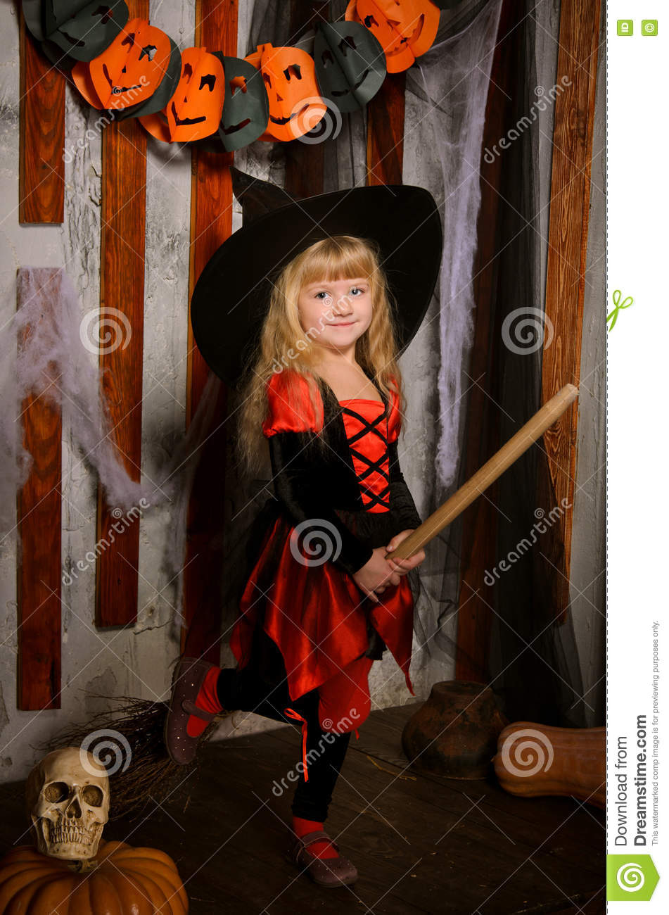 Little Cute Halloween Witch Girl On Broom Stock Photo - Image ...