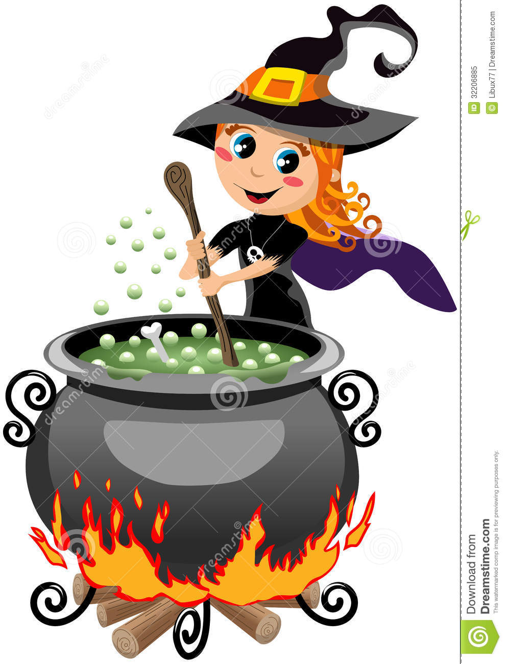 calderon cute halloween illustration isolated potion preparing white witch - Cute Halloween Witches