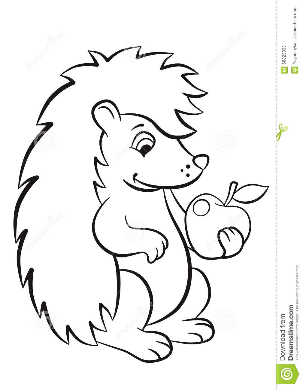 Little Cute Hedgehog Holds An Apple In The Paw Stock Vector