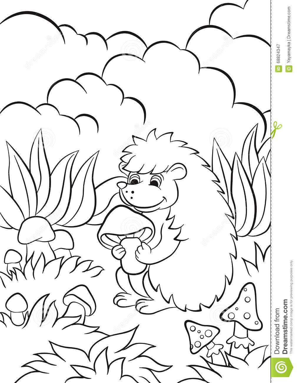 Little Cute Hedgehog Holds The Mushroom In The Paws And