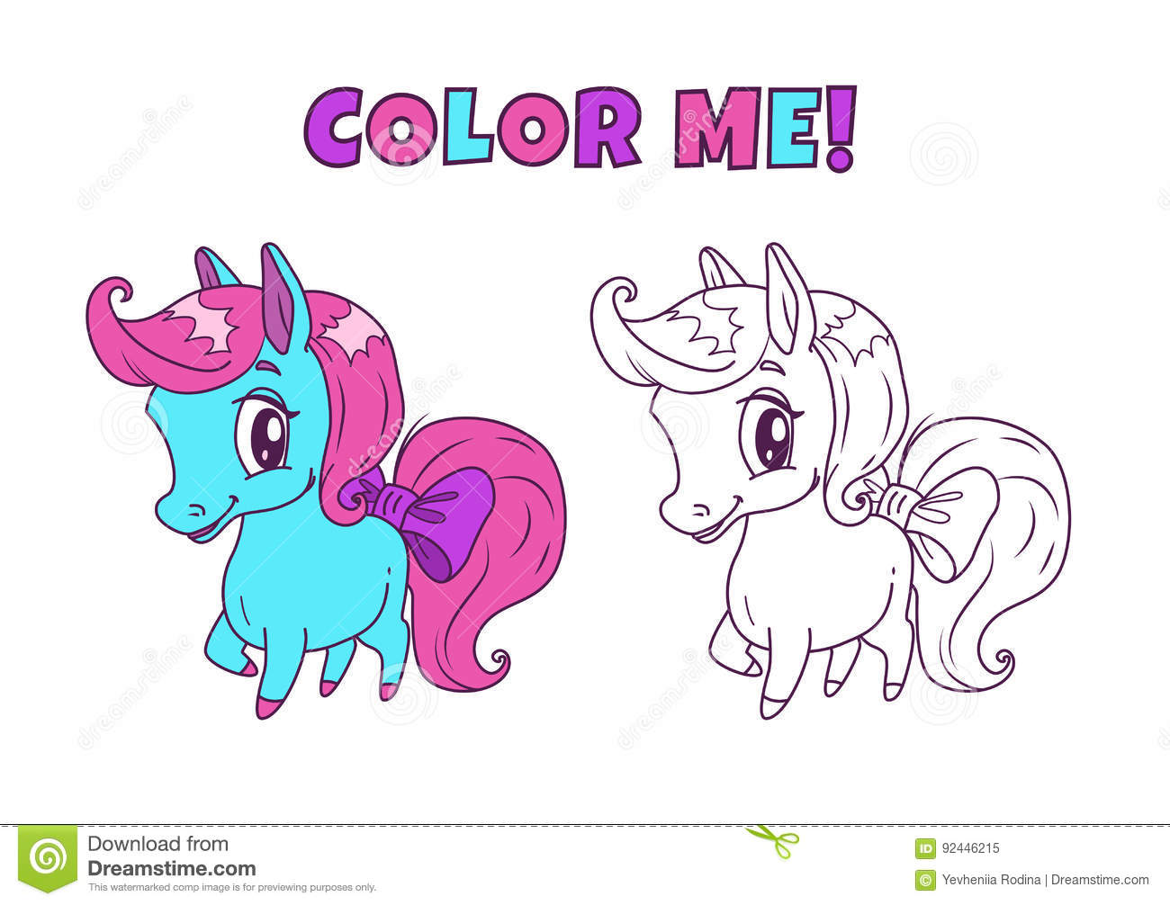 Royalty Free Vector Download Little Cute Horse Illustration For Coloring Book Design Stock