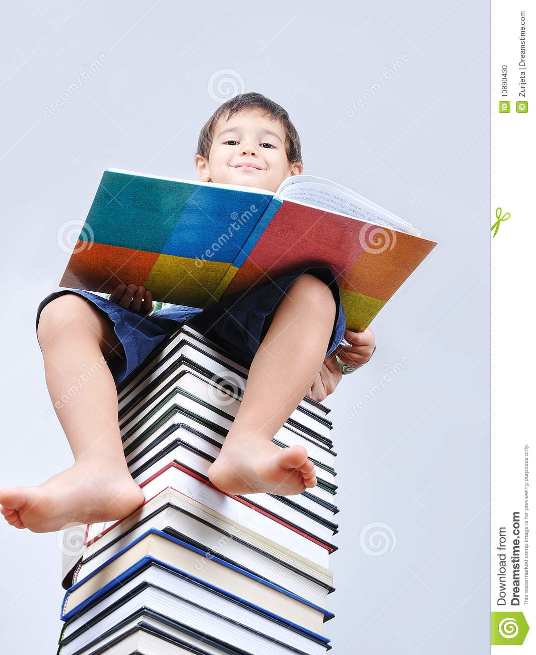 A little cute kid and books