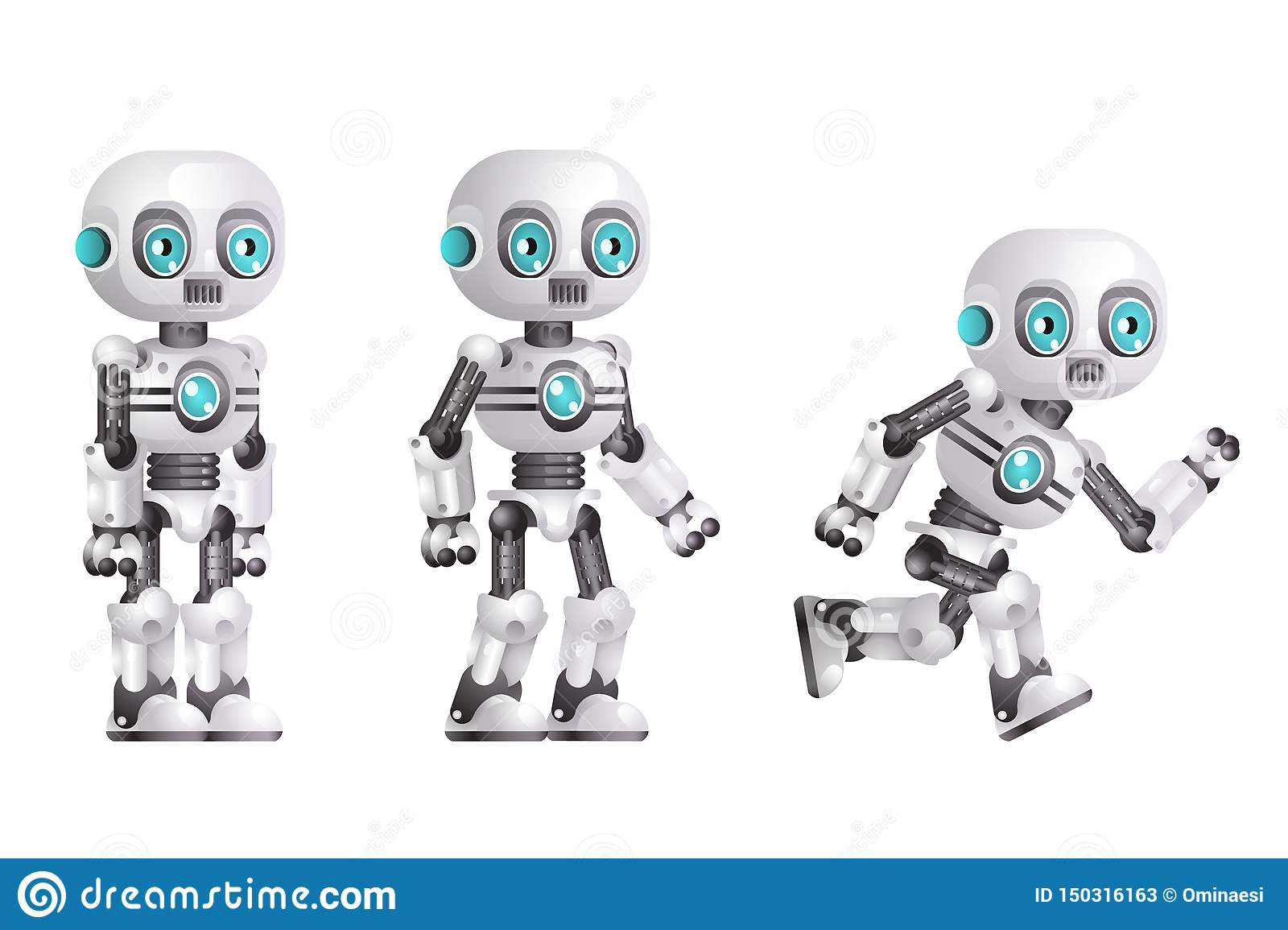 Little cute modern android run stand robot character artificial intelligence isolated on white background 3d realistic