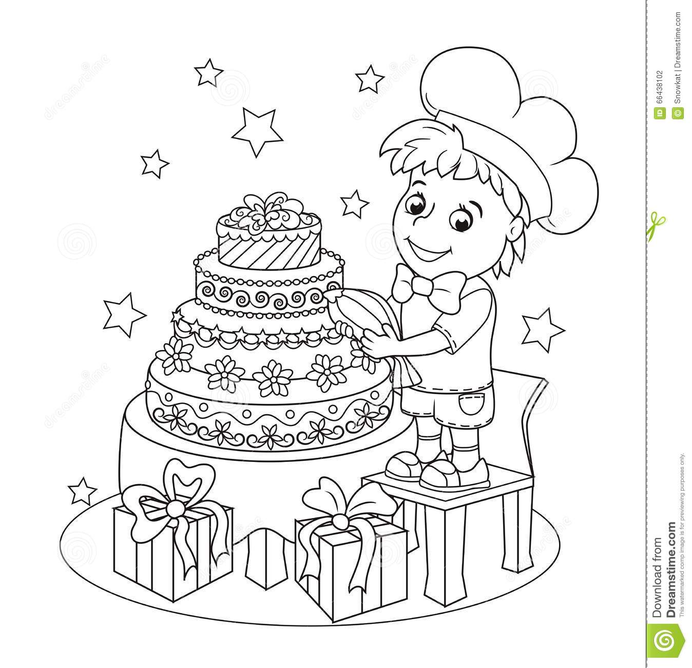 Little Cute Pastry Chef The Book Coloring Stock Illustration
