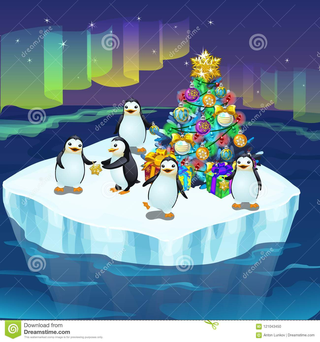 Little Cute Penguins On An Ice Floe Decorate A Christmas Tree A Poster On The Theme Of The New Year Vector Stock Vector Illustration Of Aurora Christmas 121043450