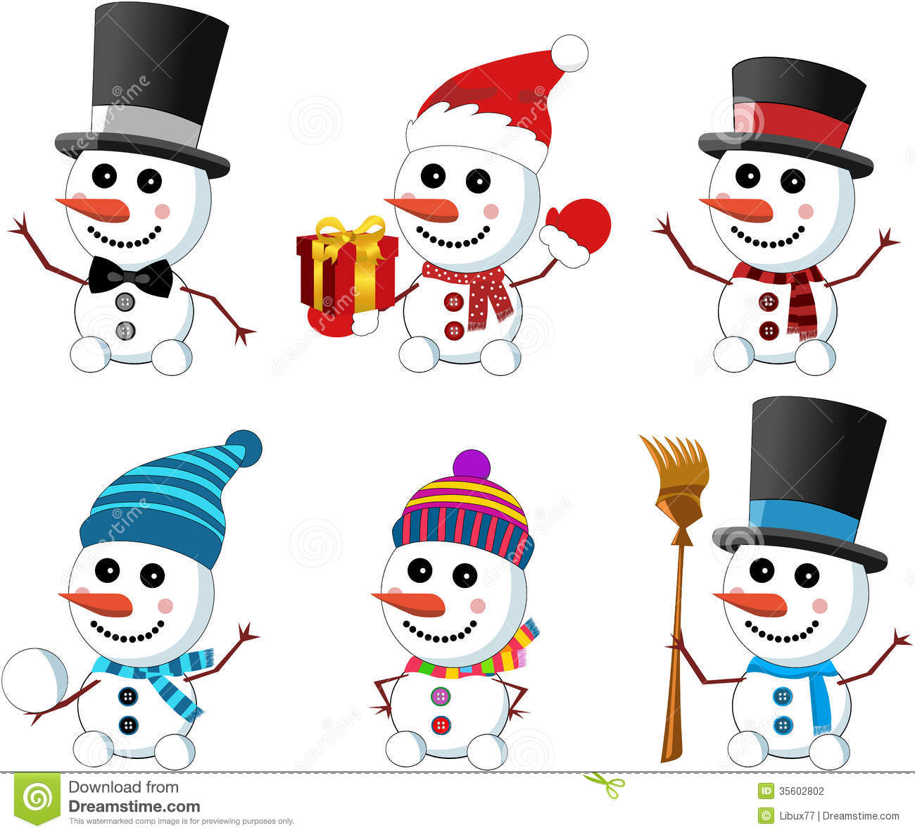 Collection of six little cute smiling snowmen wearing gloves scarf ...