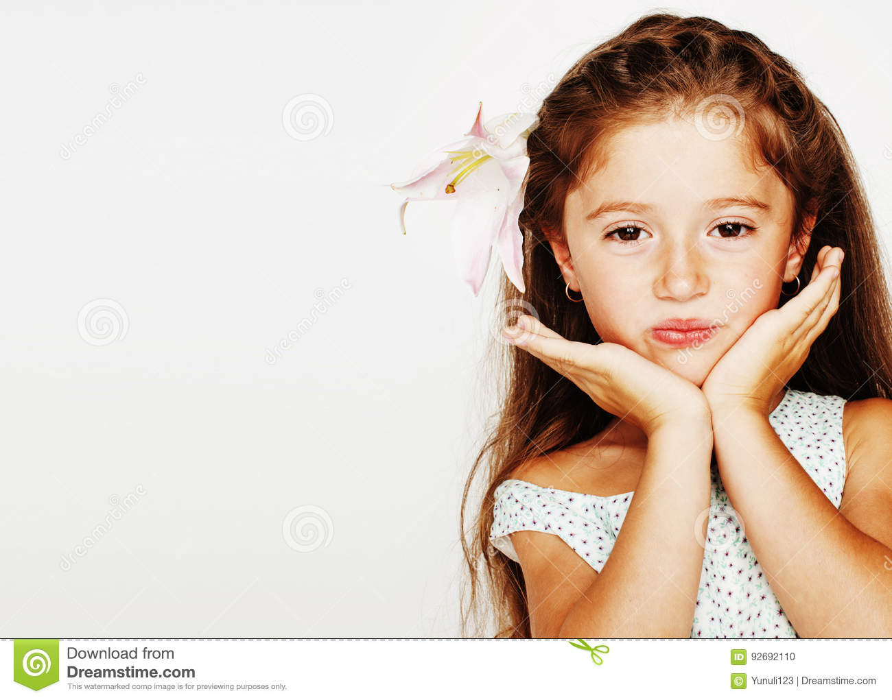 Little cute spring girl in fancy dress isolated on white background, fashion stylish kid, lifestyle people concept
