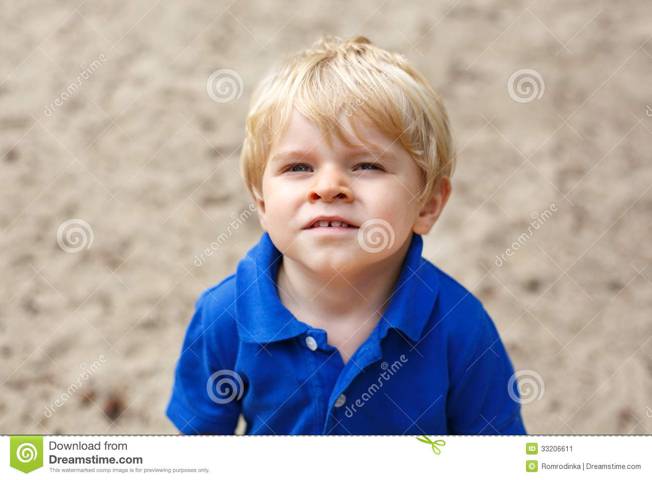 Little Cute Toddler Boy With Blond Hairs Stock Image ...
