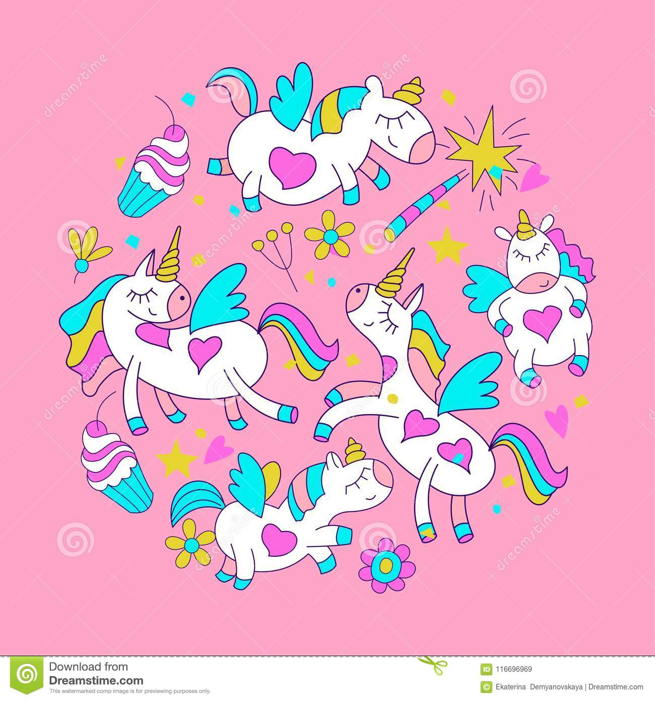 Little Cute Unicorns With Wings Flowers Magic Wands And Cakes