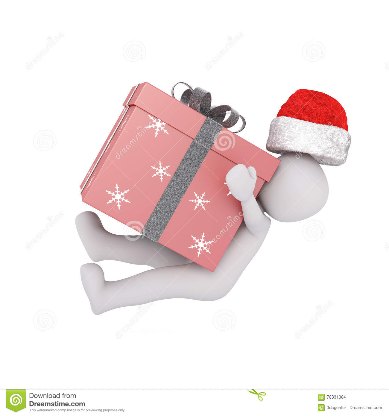 dc78a78ced35f Little 3d man wearing a Santa Claus hat falling under the weight of a large  red festive a Christmas gift isolated on white