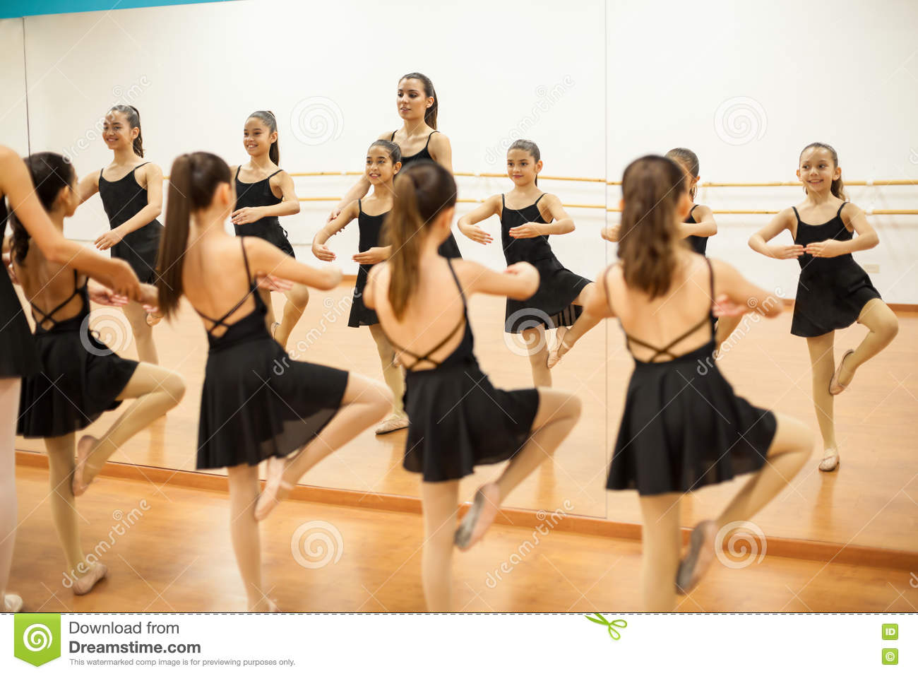 Little Dancers In Front Of A Mirror Stock Photo Image Of Behind