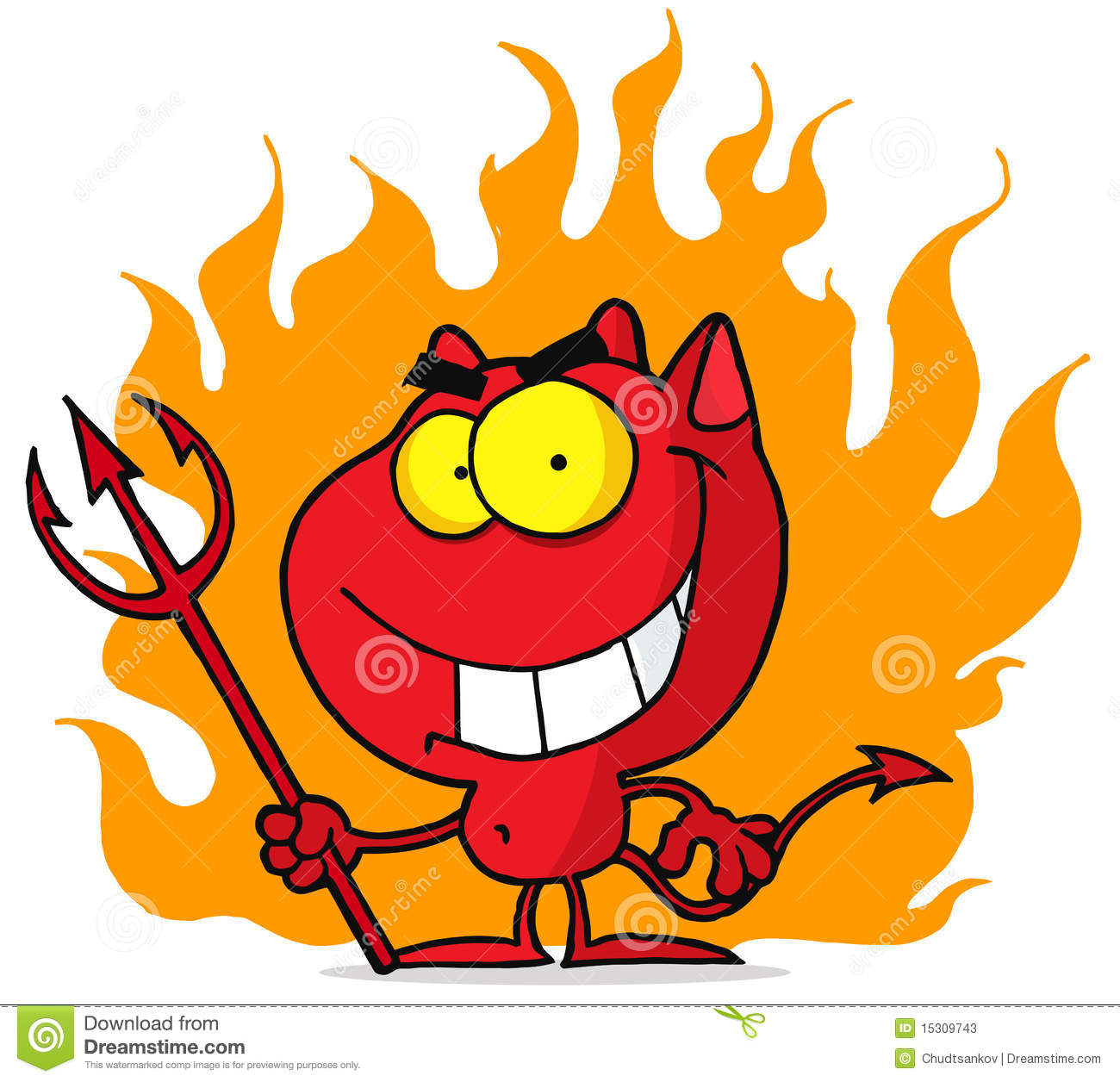 Little Devil With Pitchfork In Flames Stock Photos - Image: 15309743