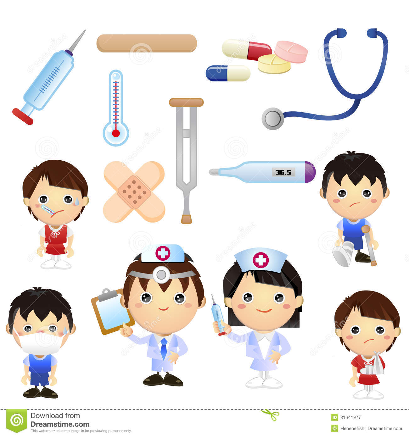 set of cartoon medical clipart, good for teaching material, book for ...
