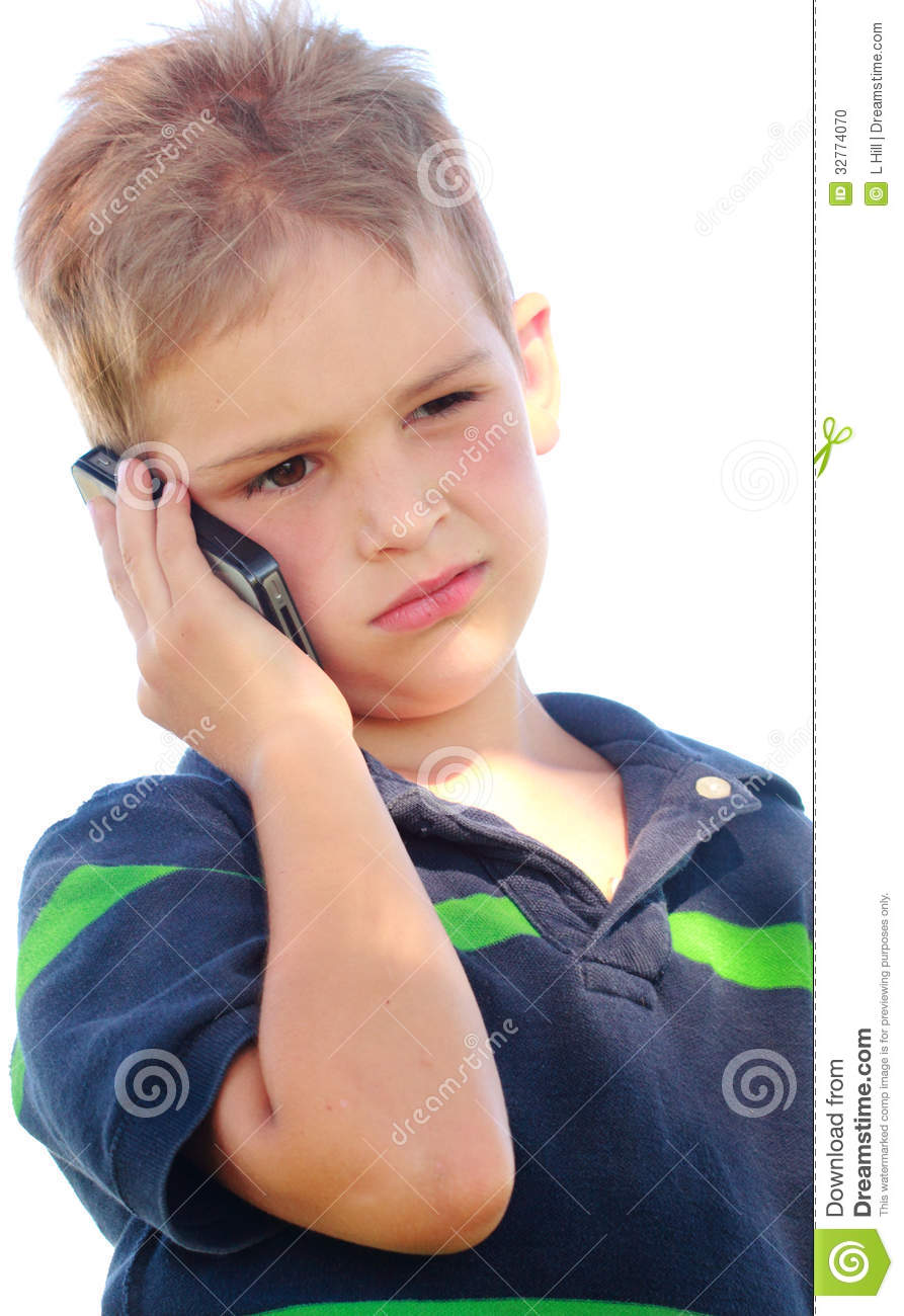 Child On Cell Phone Stock Photo - Image: 32774070