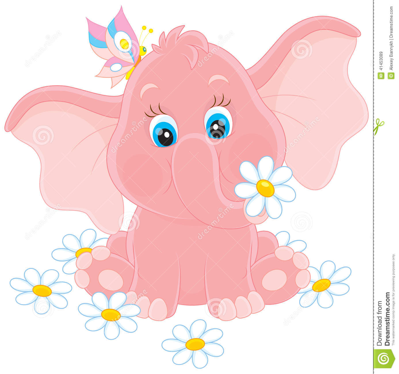 Little Elephant With Flowers Stock Vector - Illustration ...